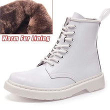 Load image into Gallery viewer, Soft Split Leather Women White Ankle Boots Motorcycle Boots Female Autumn Winter Shoes Woman Punk Motorcycle Boots 2020 Spring Women's leather boots Dashery Box 8 hole white fur 36