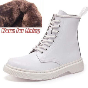 Soft Split Leather Women White Ankle Boots Motorcycle Boots Female Autumn Winter Shoes Woman Punk Motorcycle Boots 2020 Spring Women's leather boots Dashery Box 8 hole white fur 36