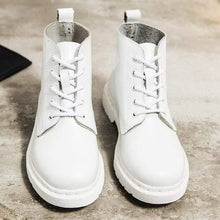 Load image into Gallery viewer, Soft Split Leather Women White Ankle Boots Motorcycle Boots Female Autumn Winter Shoes Woman Punk Motorcycle Boots 2020 Spring Women's leather boots Dashery Box 5 hole white 35