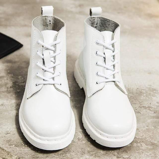 Soft Split Leather Women White Ankle Boots Motorcycle Boots Female Autumn Winter Shoes Woman Punk Motorcycle Boots 2020 Spring Women's leather boots Dashery Box 5 hole white 35