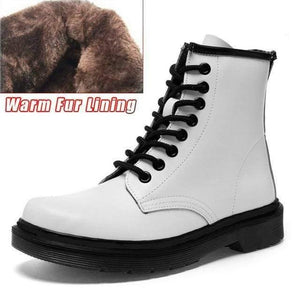 Soft Split Leather Women White Ankle Boots Motorcycle Boots Female Autumn Winter Shoes Woman Punk Motorcycle Boots 2020 Spring Women's leather boots Dashery Box 8 hole white 2 fur 42