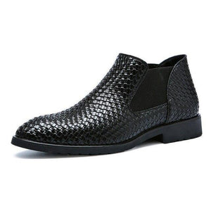 Plus Size 38-48 Luxury Brand Chelsea Boots Hand Knitted Men's Leather Boots Men Boots Business Men Shoes Ankle Boots 2.5a Dashery Box Black 48