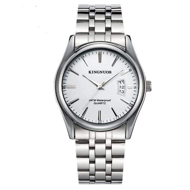 KINGNUOS Luxury Watch TheSwirlfie Silver White