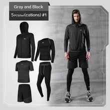 Load image into Gallery viewer, REXCHI 5 Pcs/Set Men's Jogging Sport Wear TheSwiftzy Gray & Black S