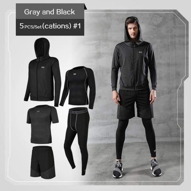 REXCHI 5 Pcs/Set Men's Jogging Sport Wear TheSwiftzy Gray & Black S