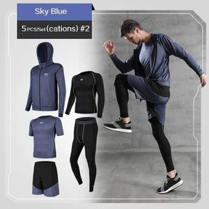 REXCHI 5 Pcs/Set Men's Jogging Sport Wear TheSwiftzy Blue S
