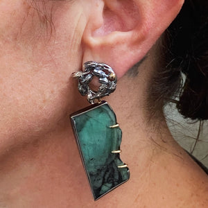 Seedpod Wreath Charmholder Earrings with Emerald Slices