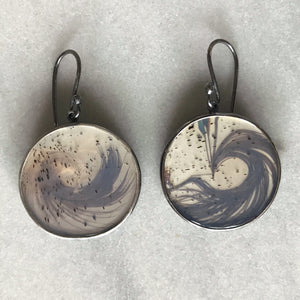 Feather and Narmada River Agate Earrings (Large)