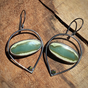 Imperial Jasper and Green Tourmaline Earrings