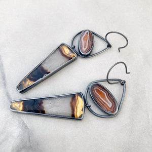 Timor and Botswana Agate Earrings