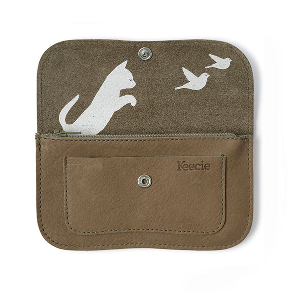 Wallet, Cat Chase Medium, Moss used look