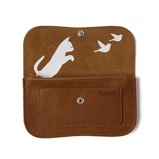 Wallet, Cat Chase Medium, Cognac used look