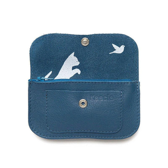 Wallet, Cat Chase Small, Faded Blue