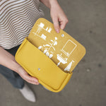 Toiletries bag, Time Flies, Yellow