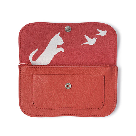 Wallet, Cat Chase Medium, Coral