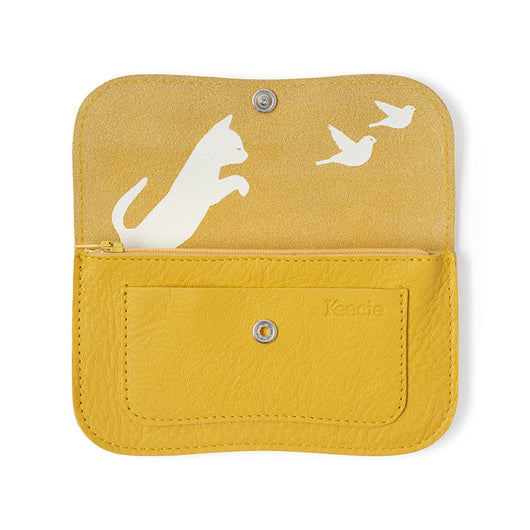 Wallet, Cat Chase Medium, Yellow