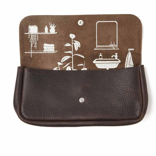 Toiletries bag, Time Flies, Dark Brown used look