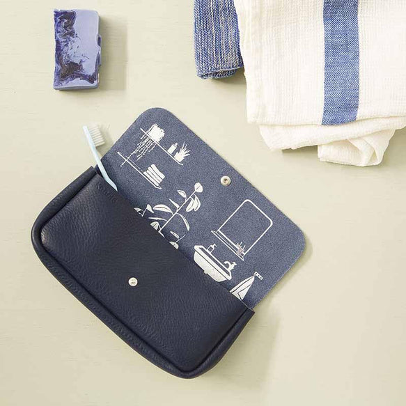 Toiletries bag, Time Flies, Ink Blue