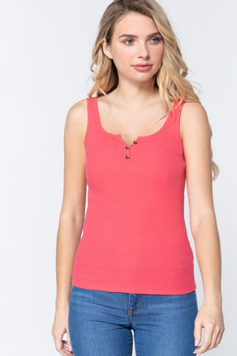 Coral Henley Tank