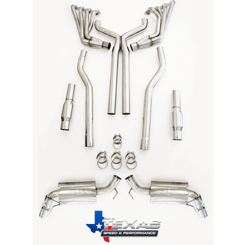 "TSP 2010+ Camaro SS 304 Stainless Steel 2.00"" Long Tube Headers, Catted X-Pipe w/O2 Extensions"
