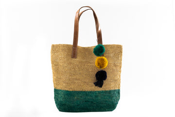 Pom Pom Raffia Tote - Home and Tribe