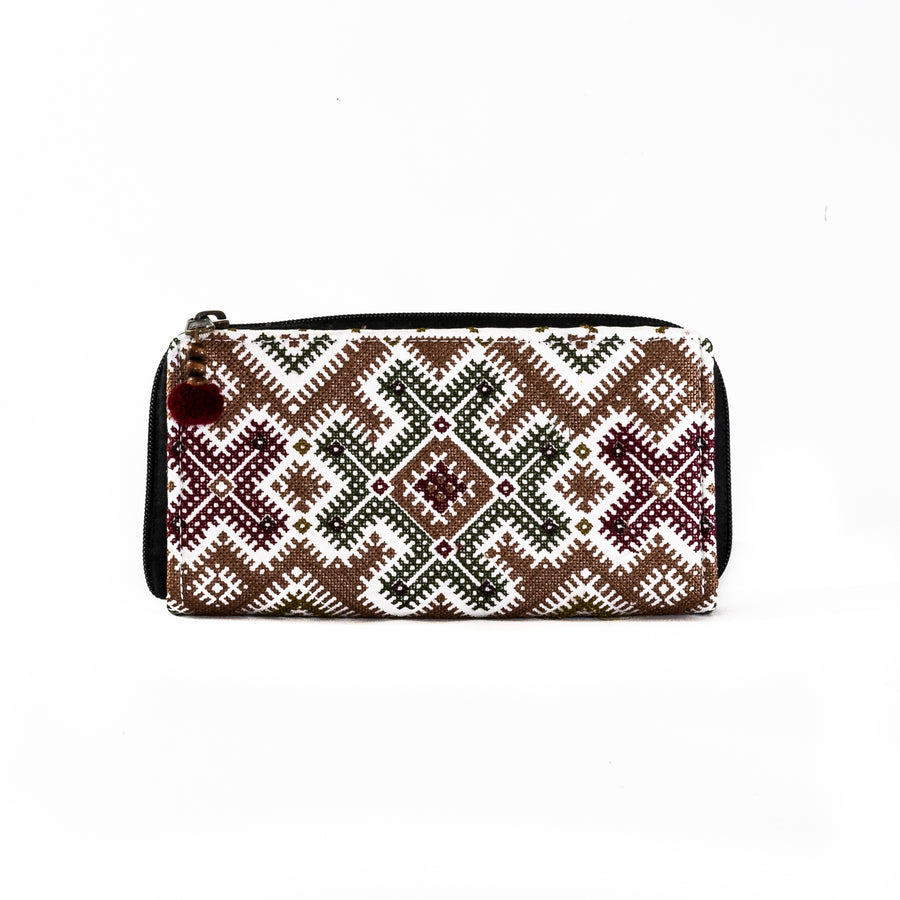 Zip Around Embroidered Wallet - Home and Tribe