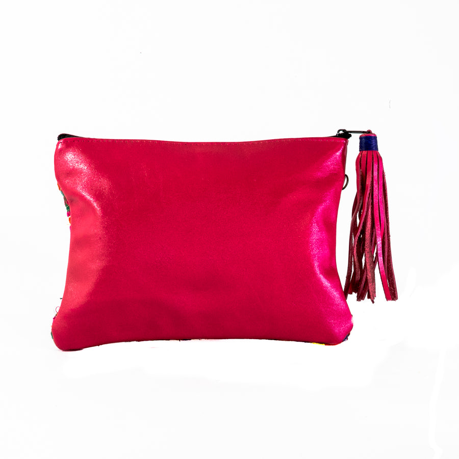 Mini Embroidered Leather Clutch - Home and Tribe