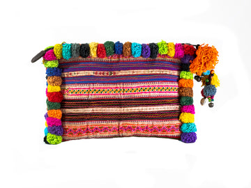 Multicoloured Pom Pom Clutch - Home and Tribe