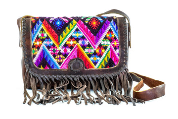 Huipil Leather Tassel Cross Body Bag - Home and Tribe