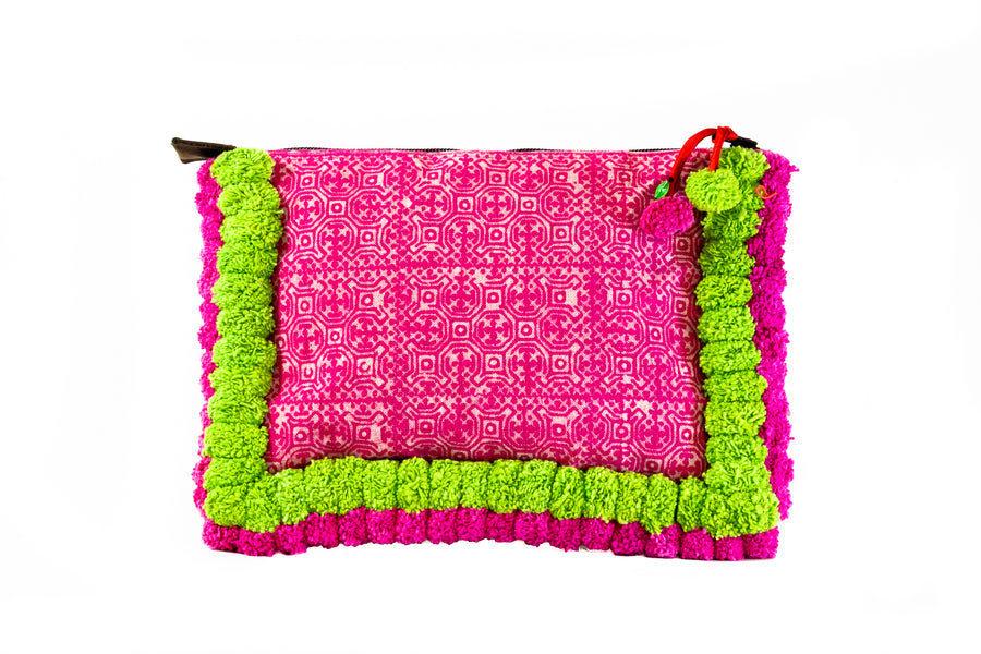 Neon Green and Pink Pom Pom Clutch - Home and Tribe