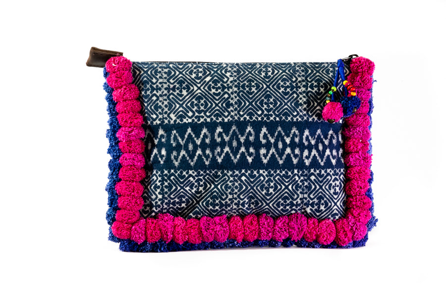 Pink and Blue Pom Pom Clutch - Home and Tribe
