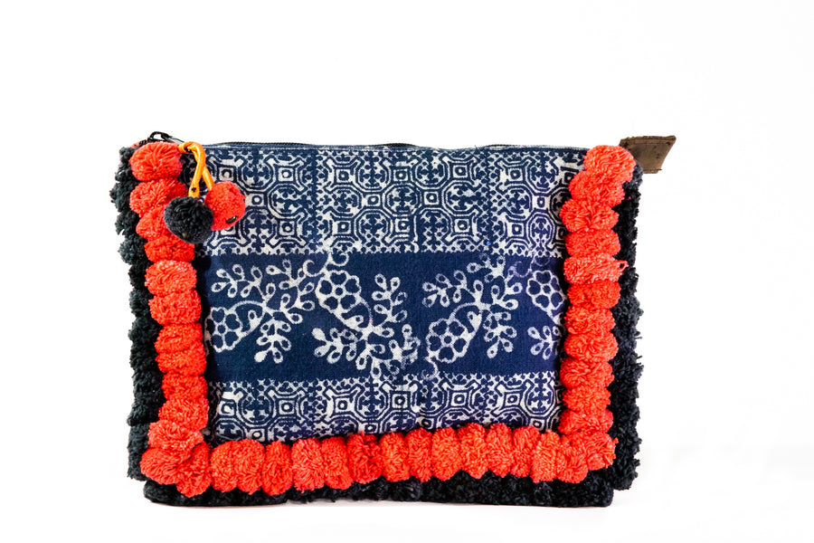 Red Pom Pom Clutch - Home and Tribe