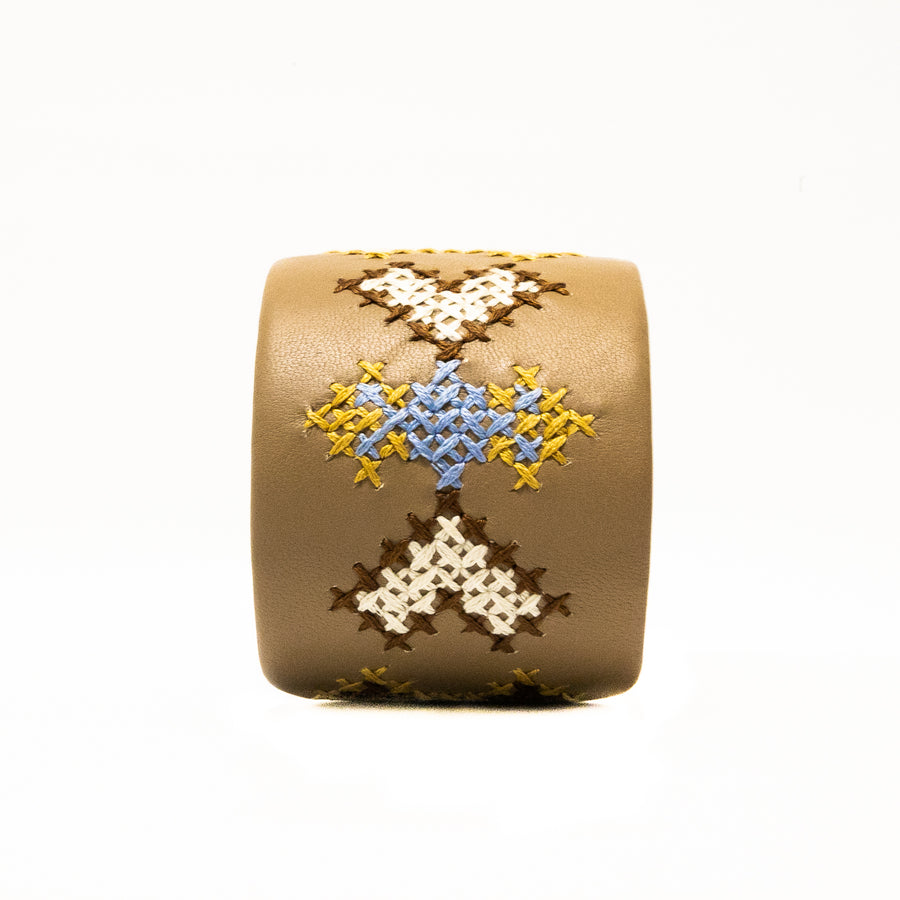 Leather Hand Embroidered Cuff - Home and Tribe