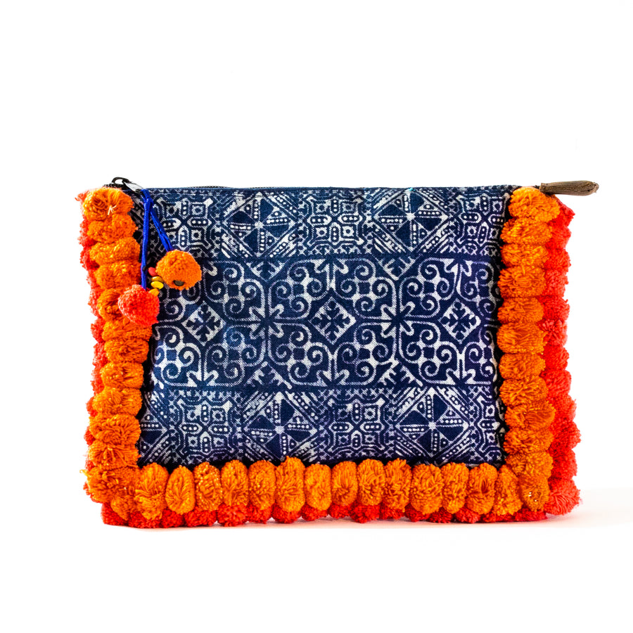 Orange Pom Pom Clutch - Home and Tribe