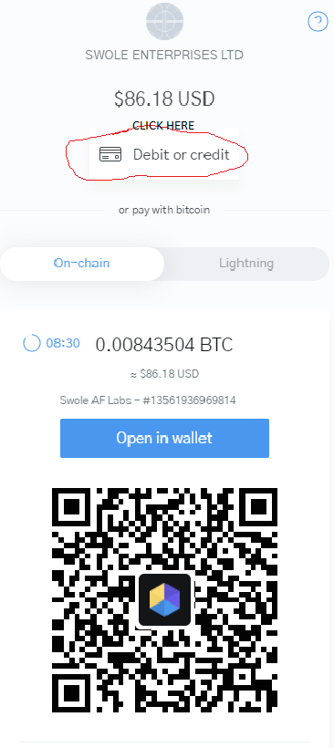 Swole AF Labs Pay with debit card - choose bitcoin and follow the steps 1