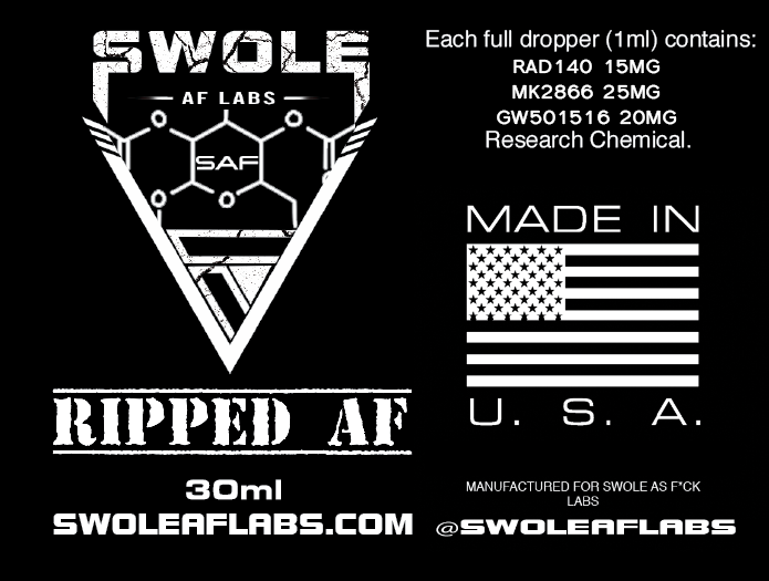 Swole AF Labs RIPPED AF 3 in 1 Stack 30ml Dropper