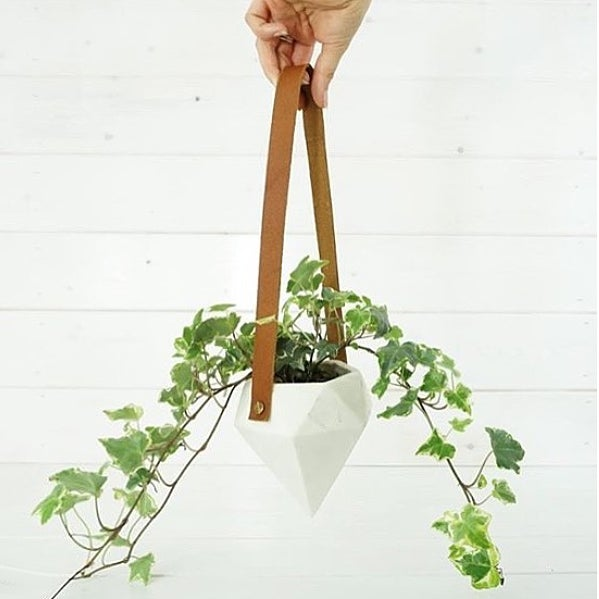 Diamond Hanging Planter - White