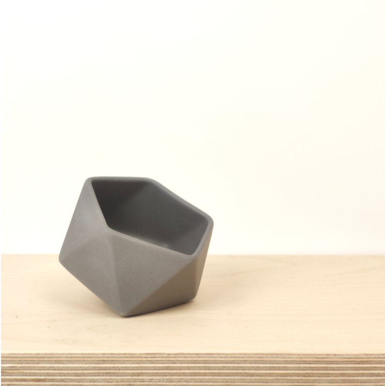 Tilted Geometric Planter - Grey