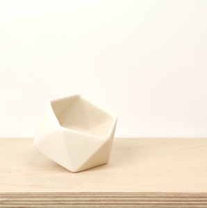 Tilted Geometric Planter - White