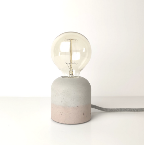 "Concrete ""Cherry' Table Lamp - Blush"