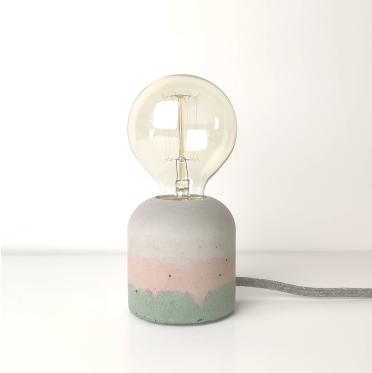 "Concrete ""Cherry' Table Lamp - Blush and Green"