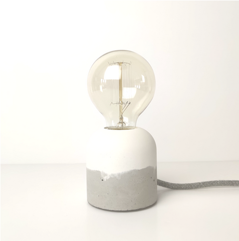 "Concrete ""Cherry' Table Lamp - White"