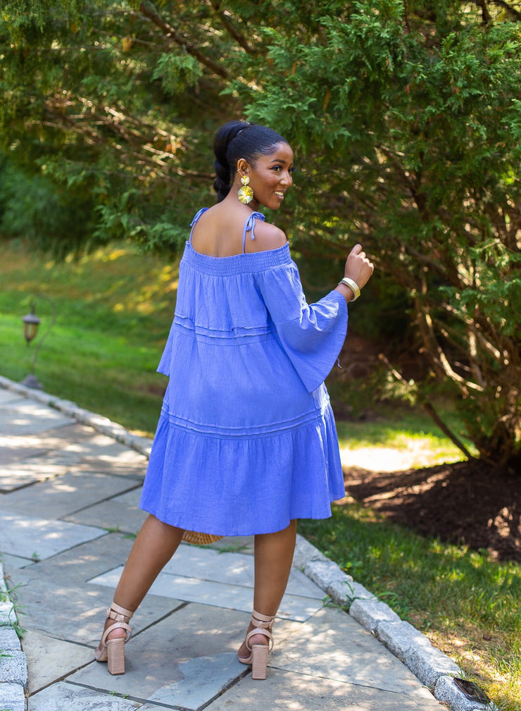 DALEAH OFF SHOULDER LINEN DRESS