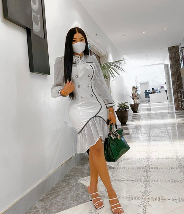 Crystal flare bottom dress with matching mask
