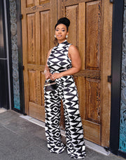 Black And White Wrap Belted Sleeveless  Jumpsuit