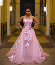 Donna pink tulle gown