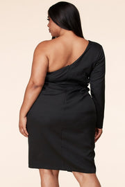 Jet black one arm dress