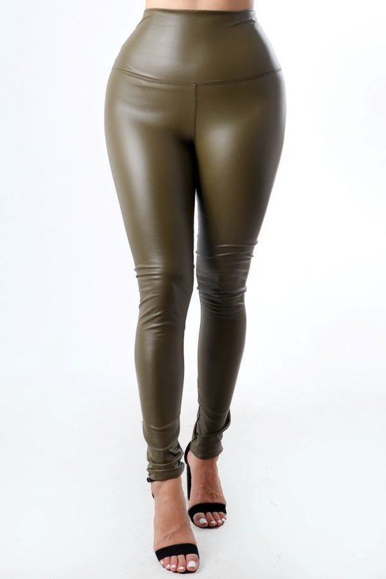 high waist faux leather leggings pants ( comes in 3 colors )