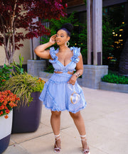 Zamara Blue  Ruffle Skater Dress