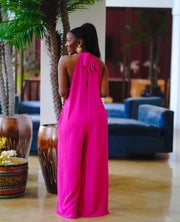 summer breeze halter top wide leg jumpsuit
